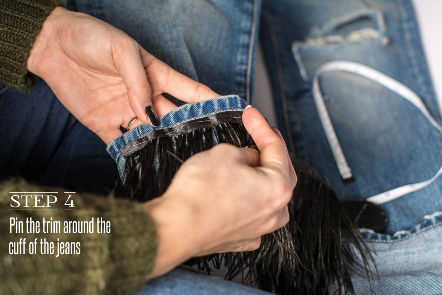 EJSTYLE - DIY Ostrich feather trim jeans, customise jeans, step 4
