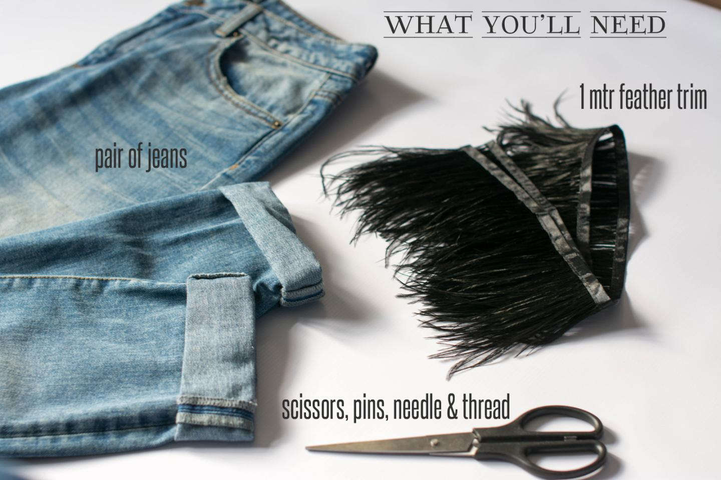 EJSTYLE - DIY Ostrich feather trim jeans, customise jeans, what you'll need
