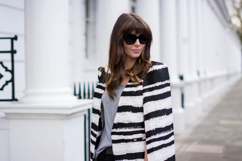 EJSTYLE - Emma Hill, Fashion Blogger, Lavish Alice black white cape blazer, stripe cape blazer, cat eye sunglasses ASOS, London Street style