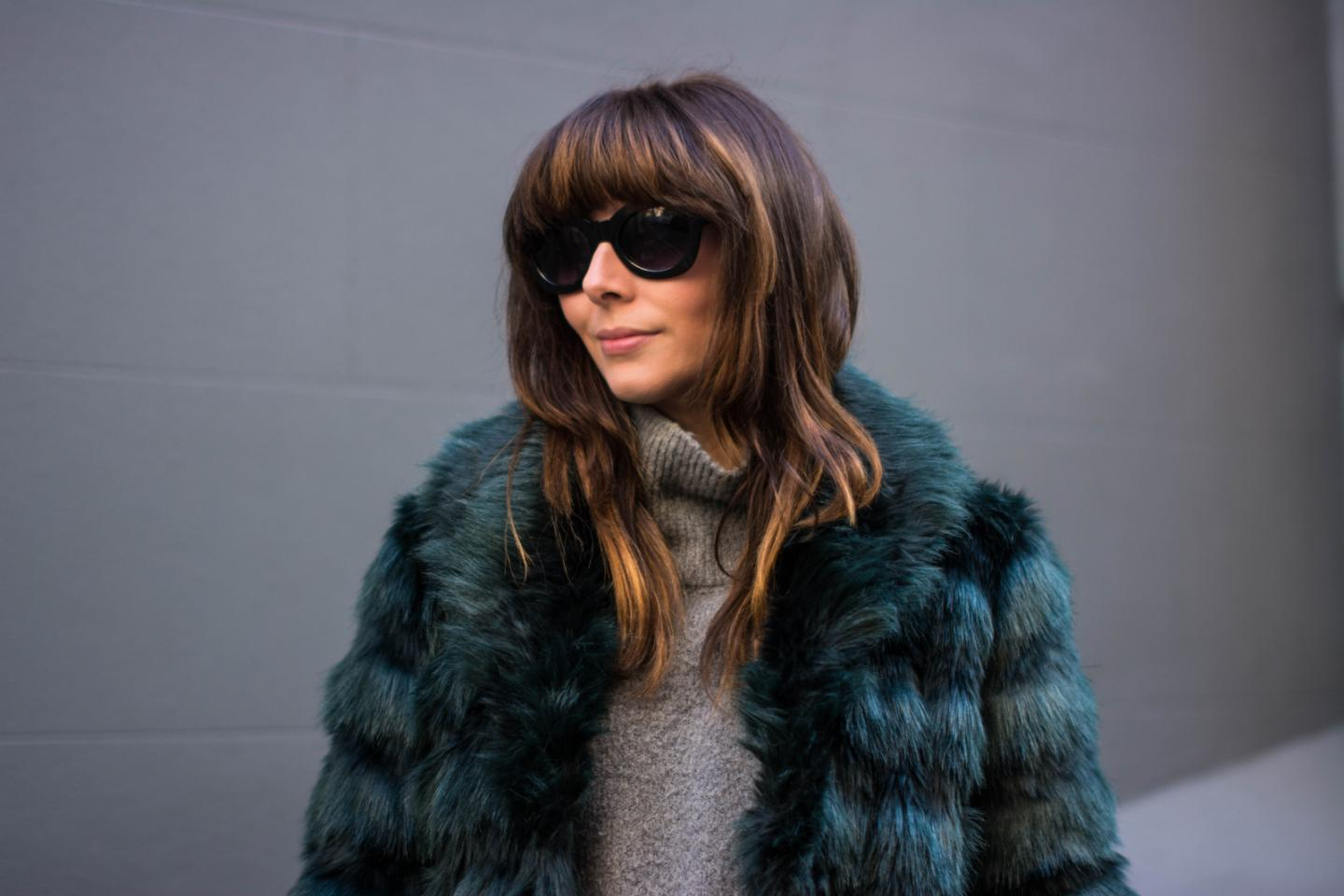EJSTYLE - Fashion Union teal green faux fur coat, Grey Zara high neck jumper, winter outfit, influential fashion bloggers, London street style