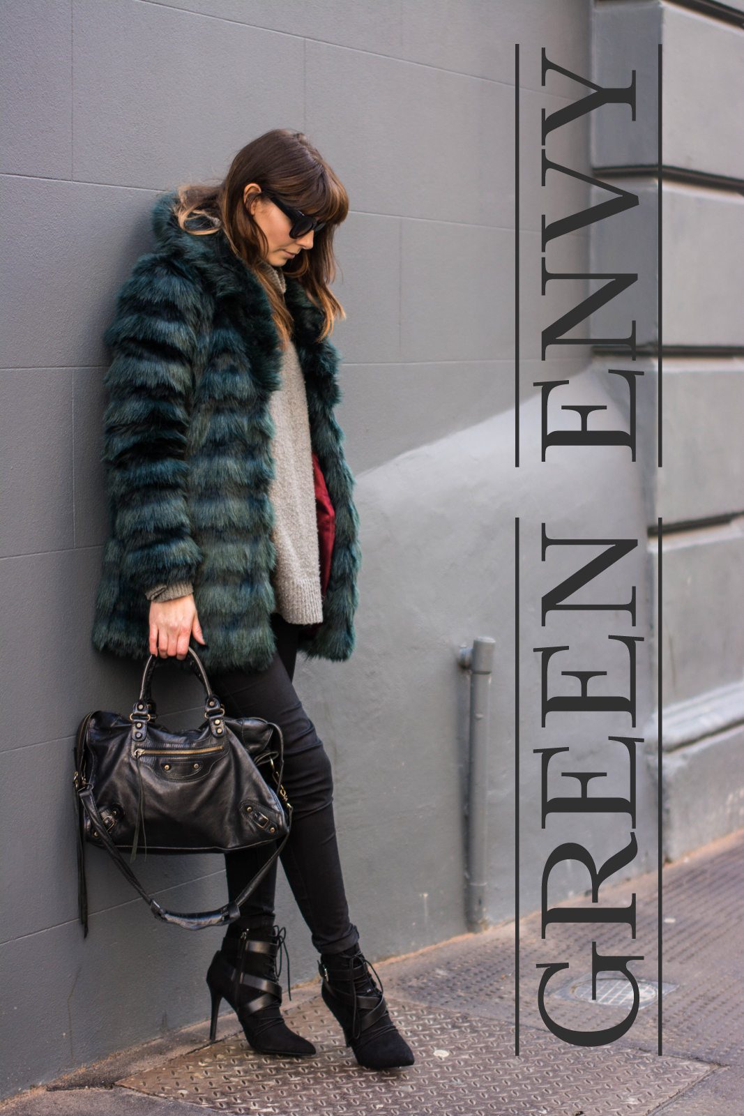 EJSTYLE - Fashion Union teal green faux fur coat, balenciaga classic city bag, Black skinny jeans, Zara lace up ankle boots SS15, winter outfit, influential fashion bloggers, london street style, Emma Hill