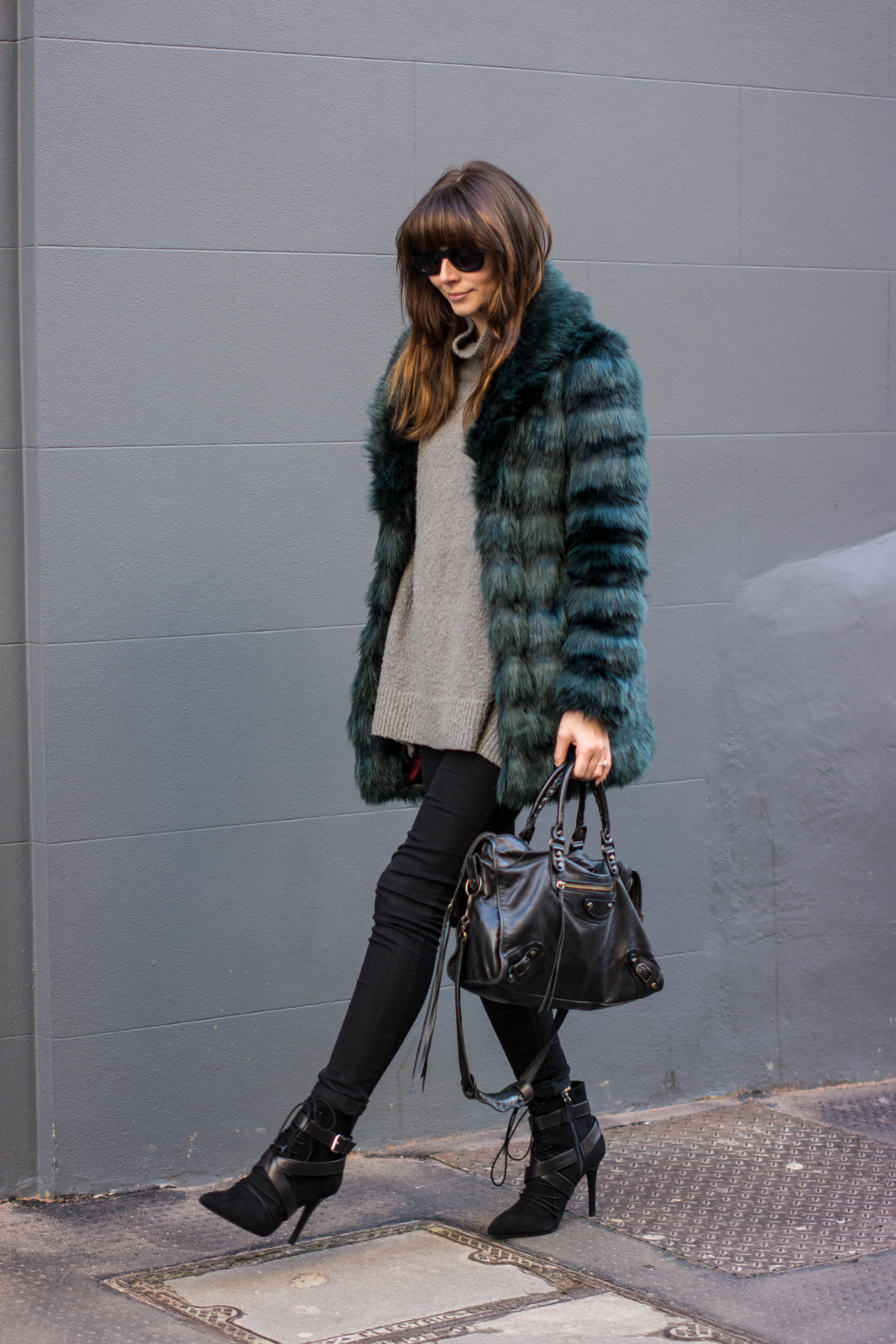 EJSTYLE - Fashion Union teal green faux fur coat, balenciaga classic city bag, Black skinny jeans, Zara lace up ankle boots SS15, winter outfit, influential fashion bloggers, london street style