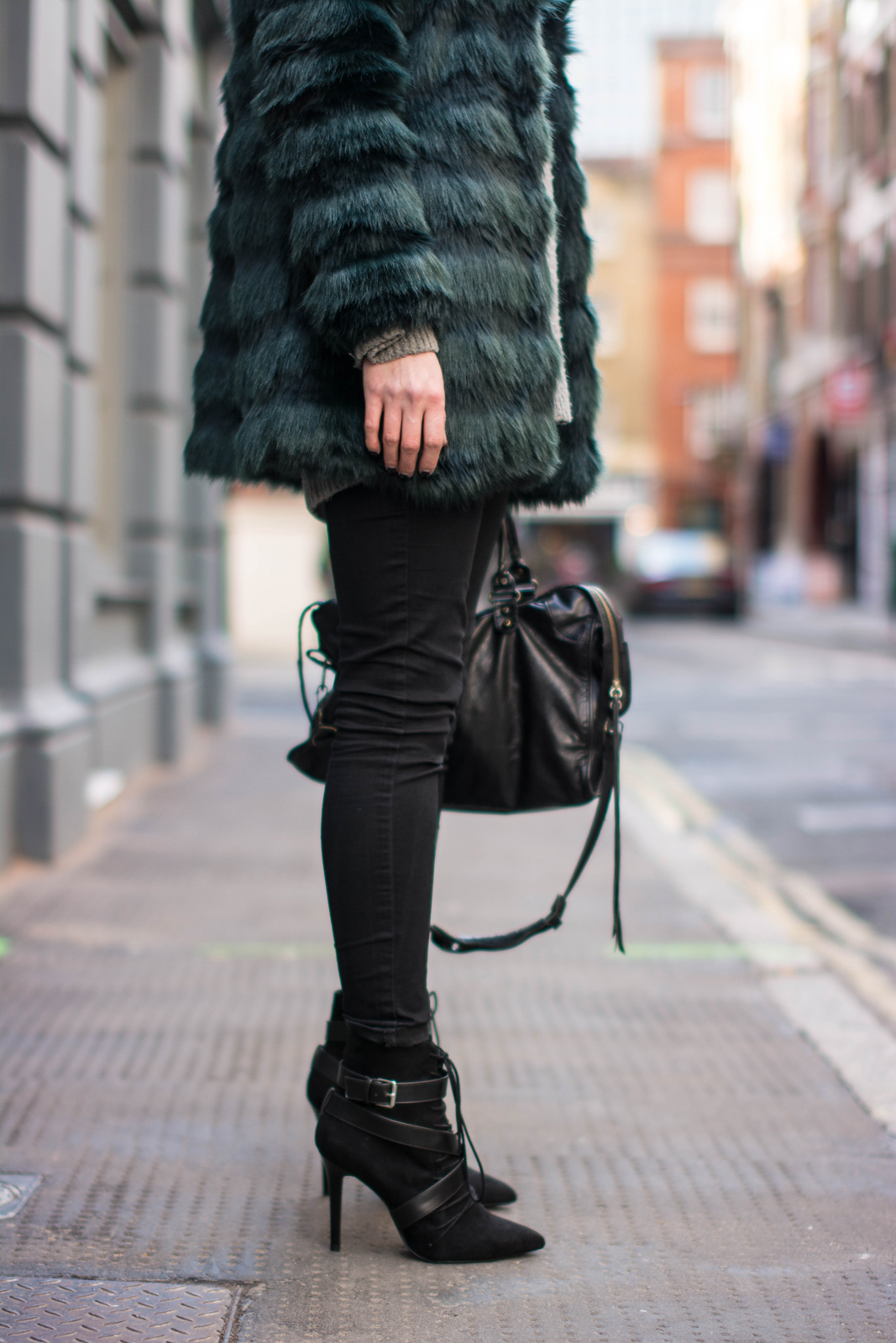 EJSTYLE - Fashion Union teal green faux fur coat, balenciaga classic city bag, Black skinny jeans, Zara lace up ankle boots SS15, winter outfit, influential fashion bloggers