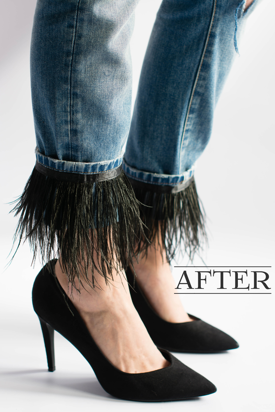 EJSTYLE - Feather jeans DIY after