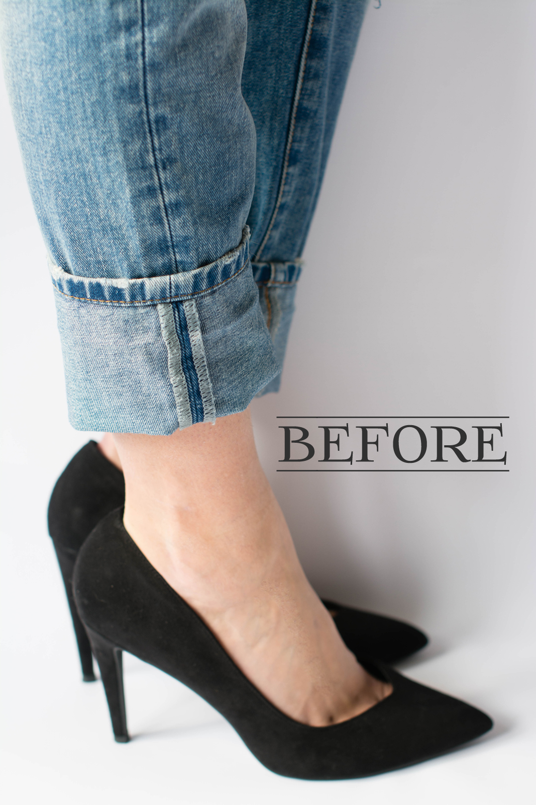 EJSTYLE - Feather jeans DIY before