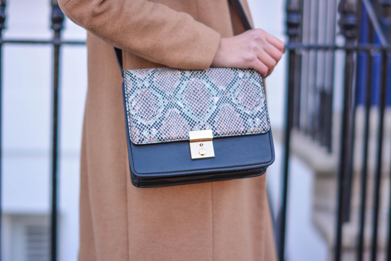 EJSTYLE - H&M snakeskin celine style shoulder bag, River Island camel coat, OOTD details