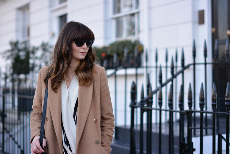 EJSTYLE - River Island camel coat, Topshop stripe draped top, OOTD, fashion blogger, details
