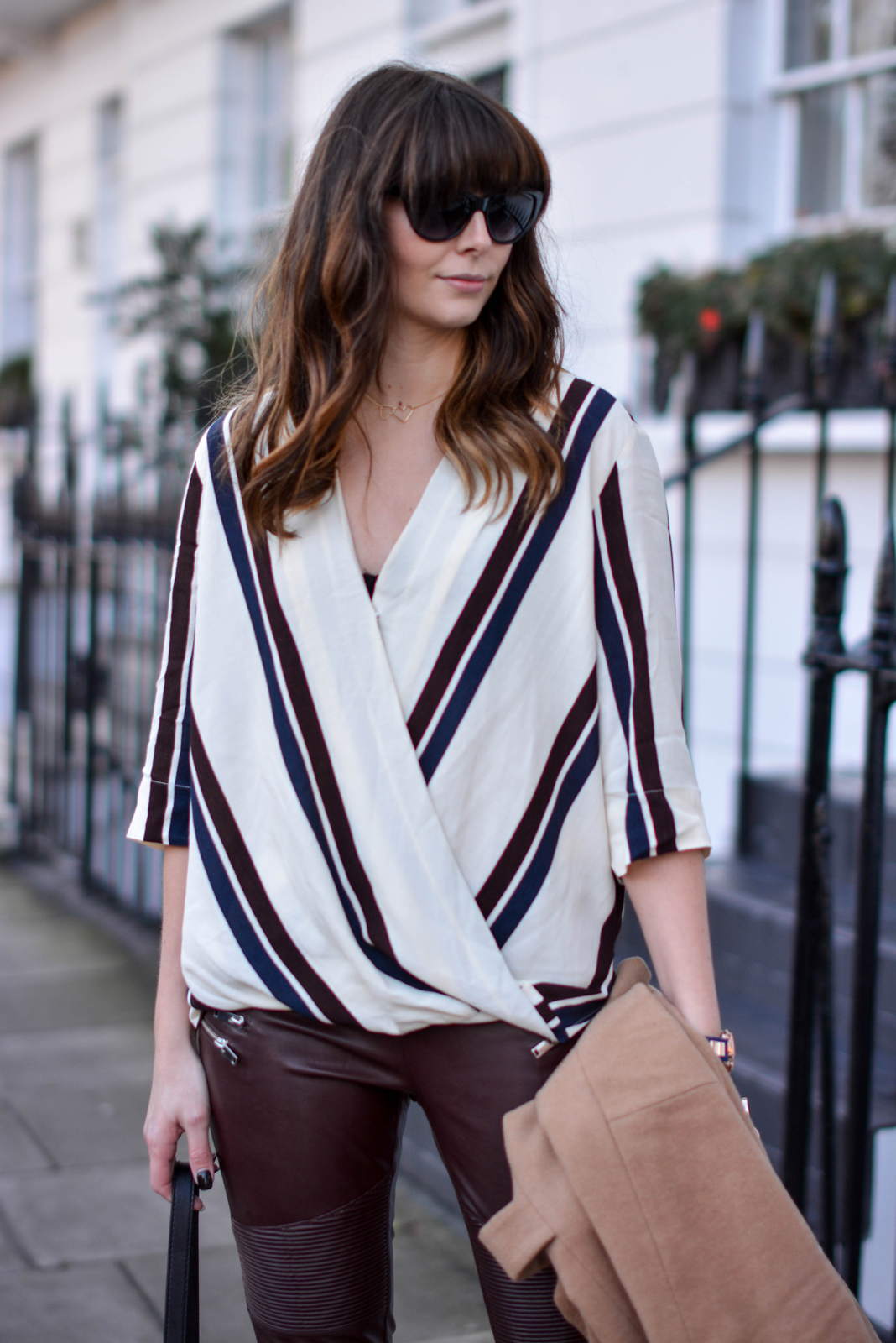 EJSTYLE - Topshop stripe drapped shirt top, River Island camel coat, Zara burgundy biker trousers faux leather, OOTD, fashion blogger