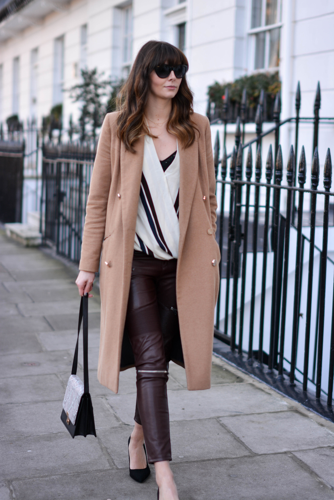 EJSTYLE - Topshop stripe drapped shirt top, River Island camel coat, Zara burgundy biker trousers faux leather, Snakeskin shoulder bag, OOTD, fashion blogger, Daily outfit