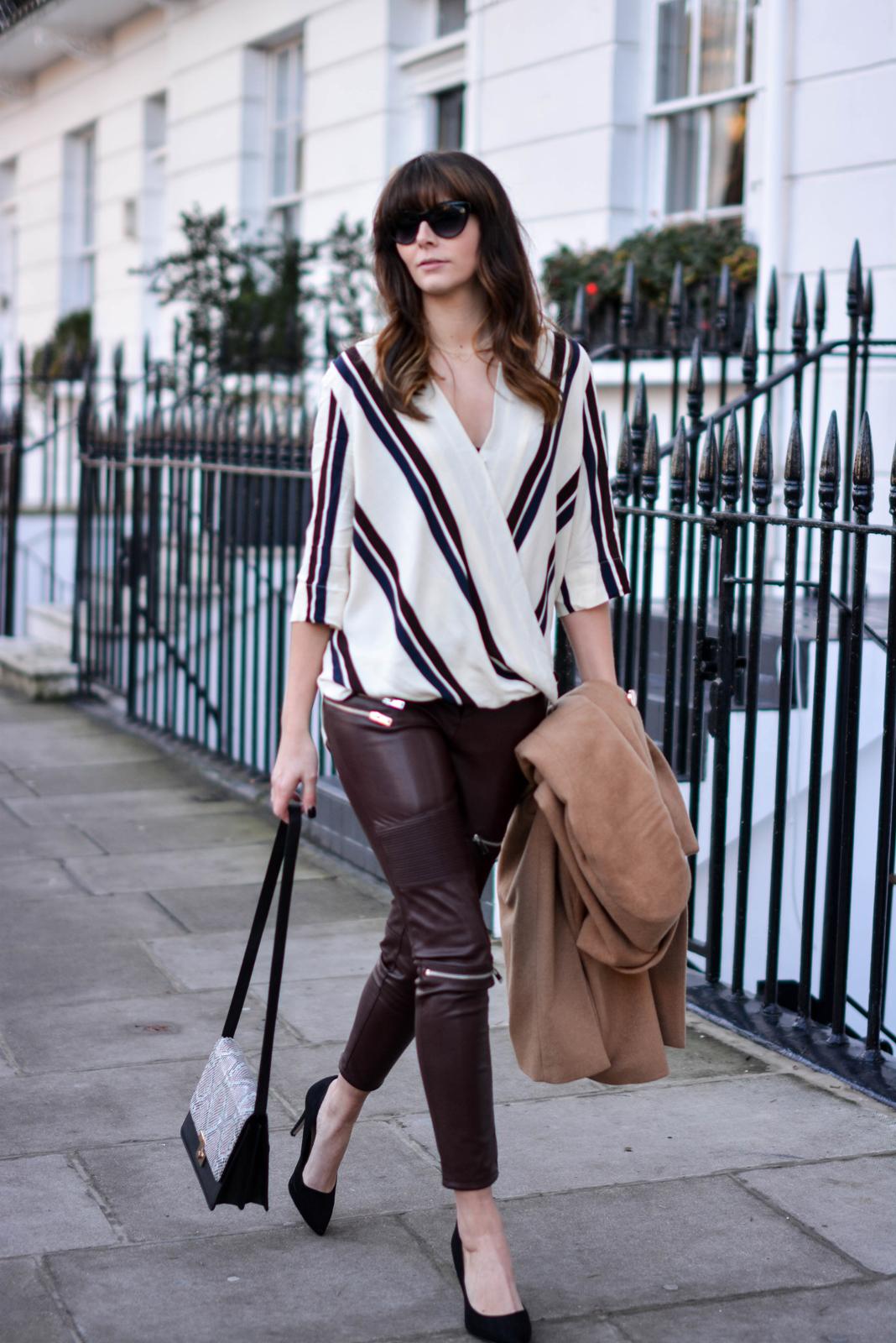 EJSTYLE - Topshop stripe drapped shirt top, River Island camel coat, Zara burgundy biker trousers faux leather, Snakeskin shoulder bag, OOTD, fashion blogger, chic outfit, Emma Hill