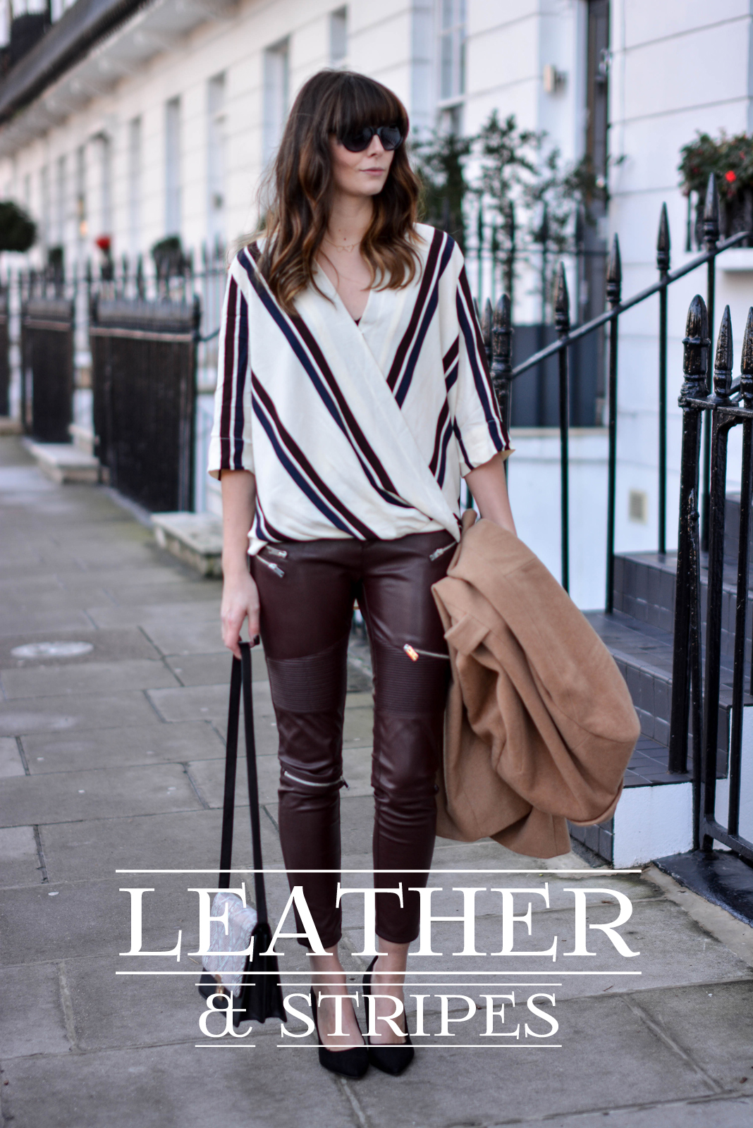 EJSTYLE - Topshop stripe drapped shirt top, River Island camel coat, Zara burgundy biker trousers faux leather, Snakeskin shoulder bag, OOTD, fashion blogger, chic outfit