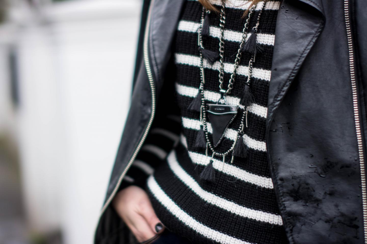 EJSTYLE - Zara black white striped jumper sweater, leather biker jacket, Wallis black tassle necklace, Givenchy shark tooth necklace, OOTD, outfit details