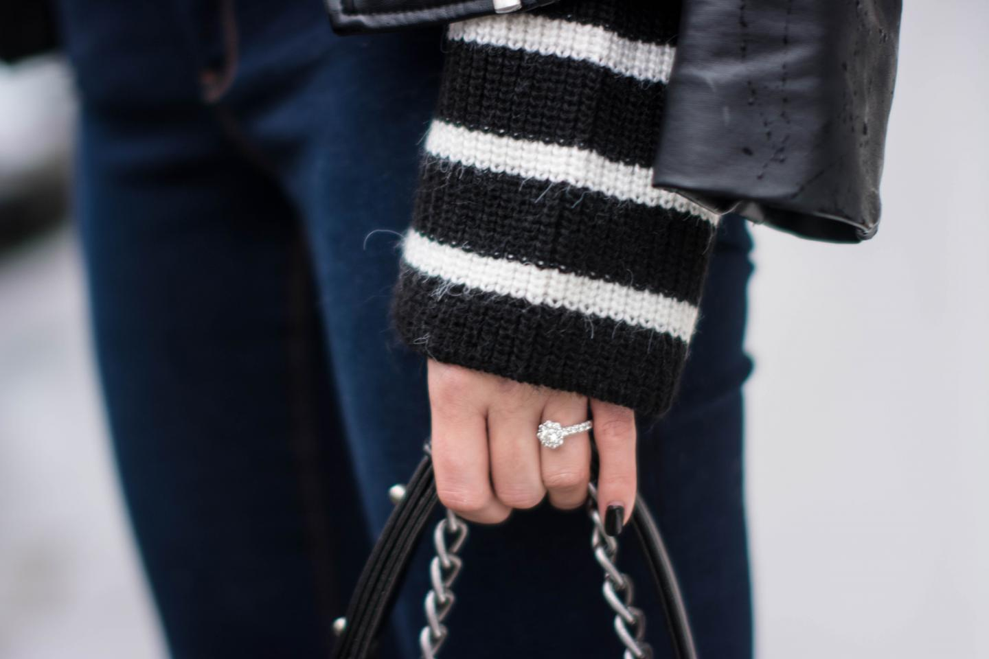 EJSTYLE - Zara black white striped jumper sweater, leather biker jacket, engagement ring, OOTD, outfit details