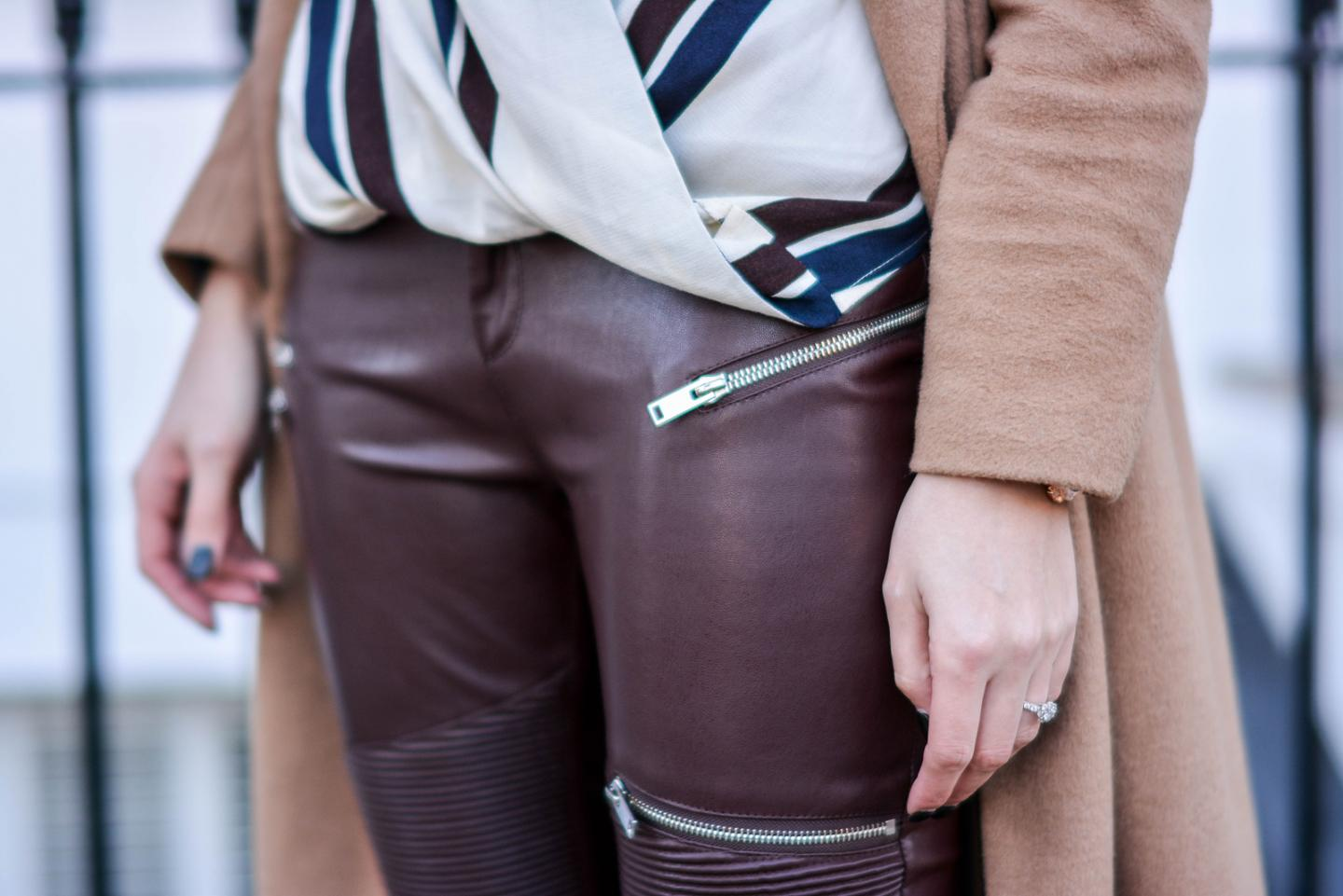 EJSTYLE - Zara burgundy faux leather biker trousers, trousers with zips, River Island camel coat, Topshop stripe dramed blouse, OOTD details