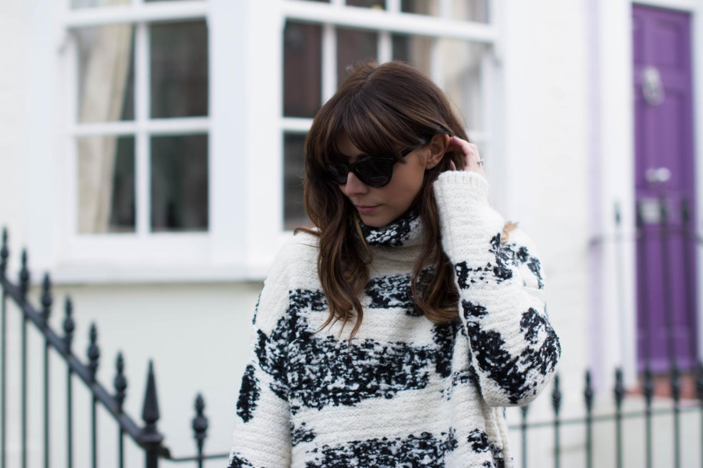 EJSTYLE - Zara fringe black white jumper, Isabel Marant Inspired look, OOTD, fashion blogger