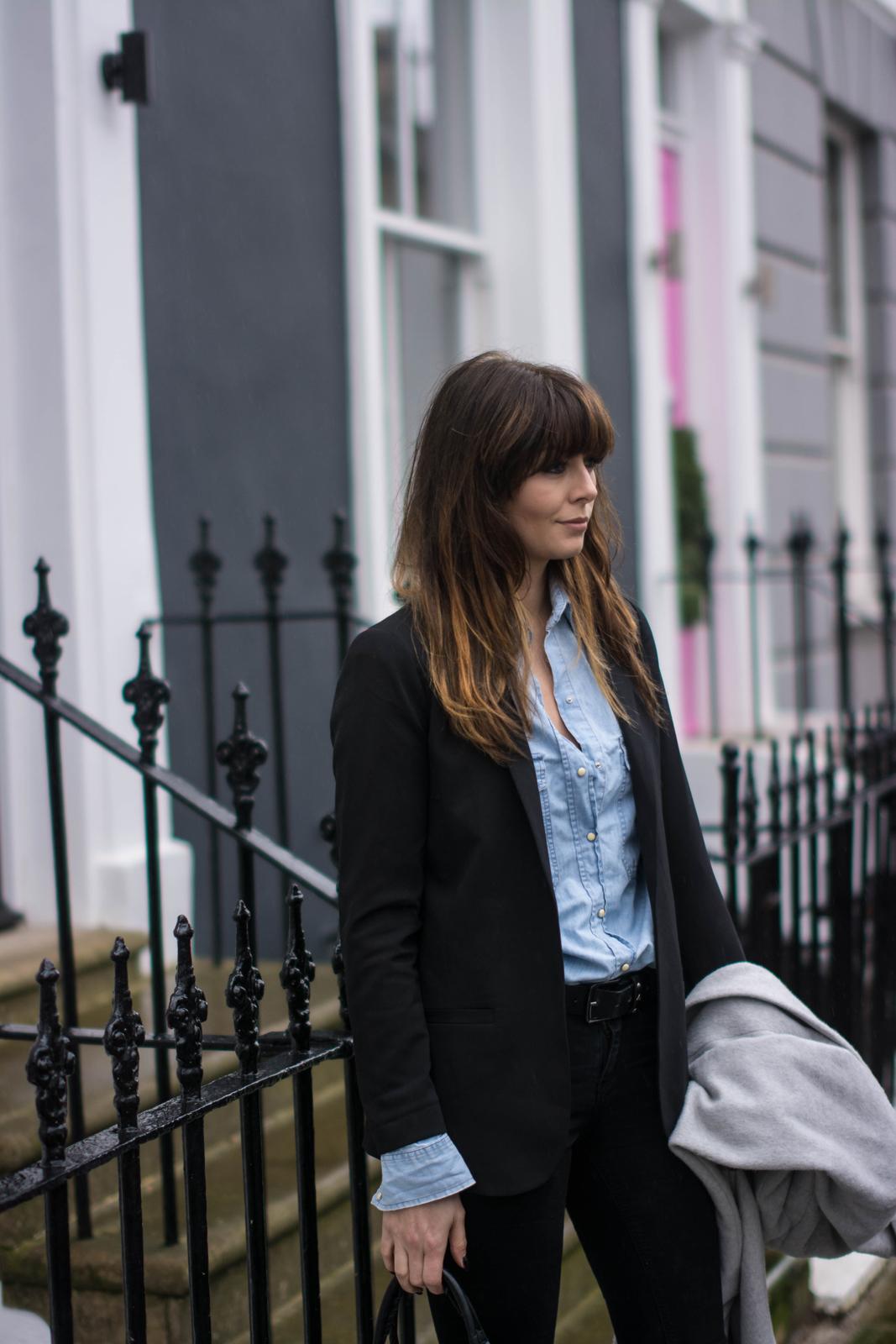 EJSTYLE - Emma Hill, Black blazer Zara, denim shirt, black skinny jeans, street style london, OOTD