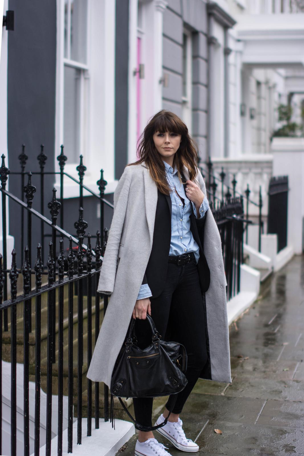 EJSTYLE - Emma Hill, Dorothy Perkins long grey boyfriend coat, black skinny jeans, denim shirt, black blazer, converse chuck taylor low white, fashion blogger, OOTD, street style london