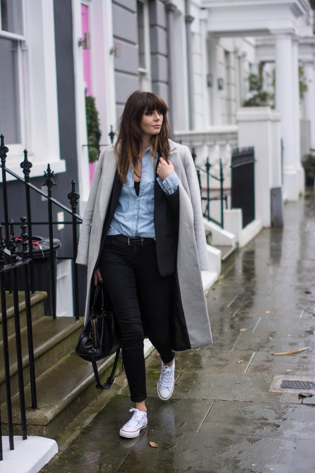 EJSTYLE - Emma Hill, Dorothy Perkins long grey boyfriend coat, black skinny jeans, denim shirt, black blazer, converse chuck taylor low white, fashion blogger, OOTD, street style