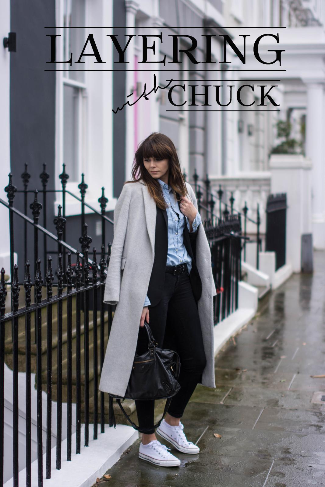 EJSTYLE - Emma Hill, Dorothy Perkins long grey boyfriend coat, black skinny jeans, denim shirt, black blazer, converse chuck taylor low white, fashion blogger, OOTD