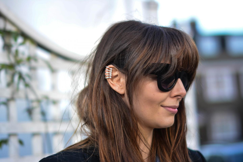 EJSTYLE - Emma Hill, Fashion Blogger, Asos cat eye sunglasses, Topshop silver pearl earcuff, pear earcuff