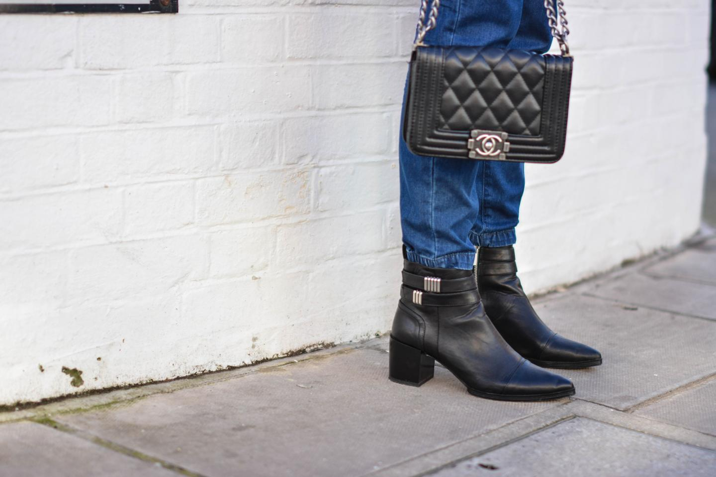 EJSTYLE - Emma Hill, Fashion Blogger, Chanel black boy bag small, Forever 21 pointed toe ankle boots, Denim jumpsuit