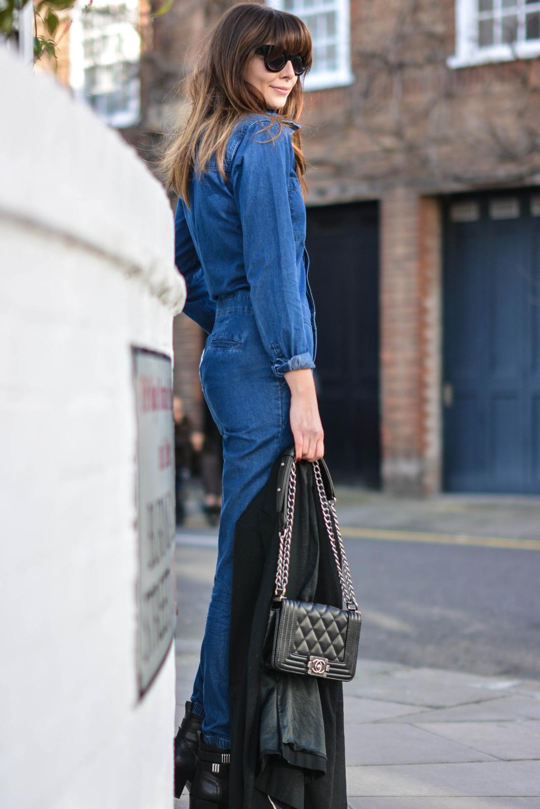 EJSTYLE - Emma Hill, Fashion Blogger, Forever 21 Denim jumpsuit, denim overalls, denim boiler suit, asos cat eye sunglasses, chanel boy bag, black mango blazer, OOTD, street style