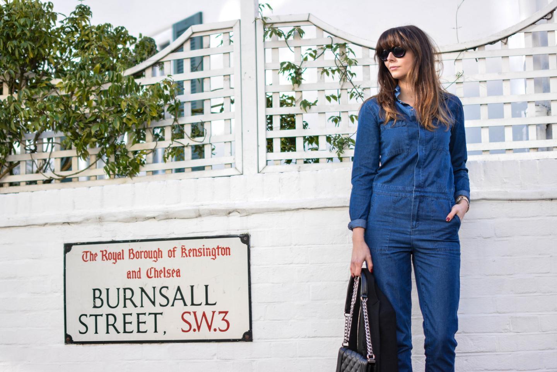 EJSTYLE - Emma Hill, Fashion Blogger, Forever 21 Denim jumpsuit, denim overalls, denim boiler suit, asos cat eye sunglasses, chanel boy bag black
