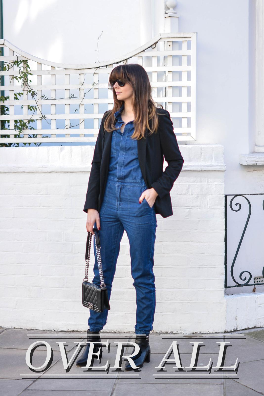 EJSTYLE - Emma Hill, Fashion Blogger, Forever 21 black pointed toe ankle boots, Forever 21 Denim jumpsuit, denim overalls, denim boiler suit, cat eye sunglasses, chanel boy bag, black mango blazer, OOTD, street