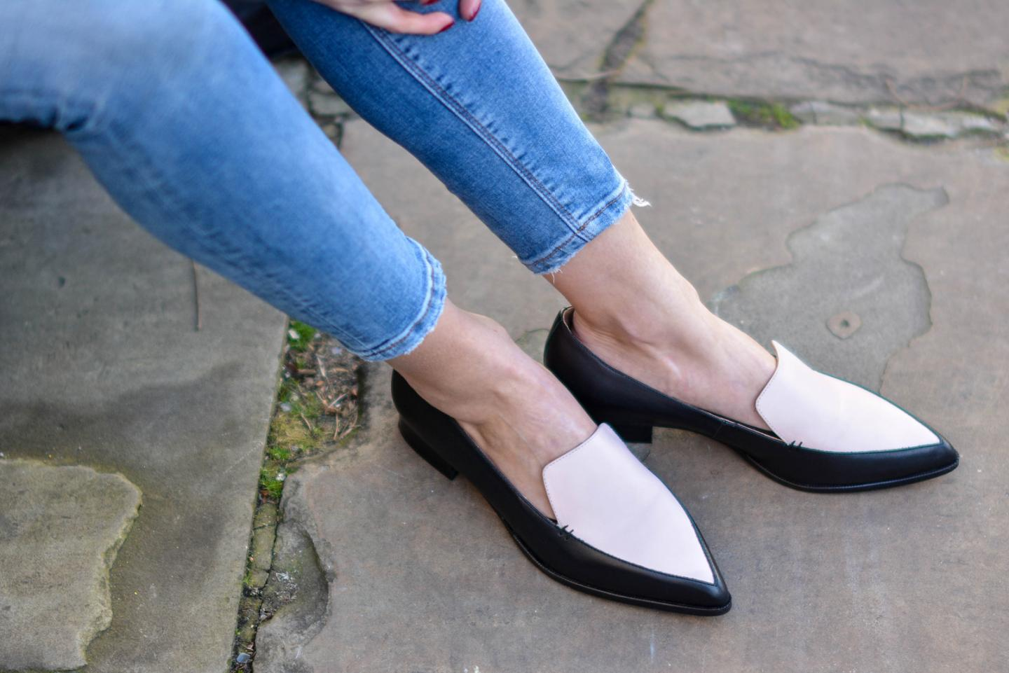 EJSTYLE - Emma Hill, Fashion Blogger, John Lewis Collection pointed loafers, black white pointed loafers, Street style, pointed slip ons, pointed toe flats