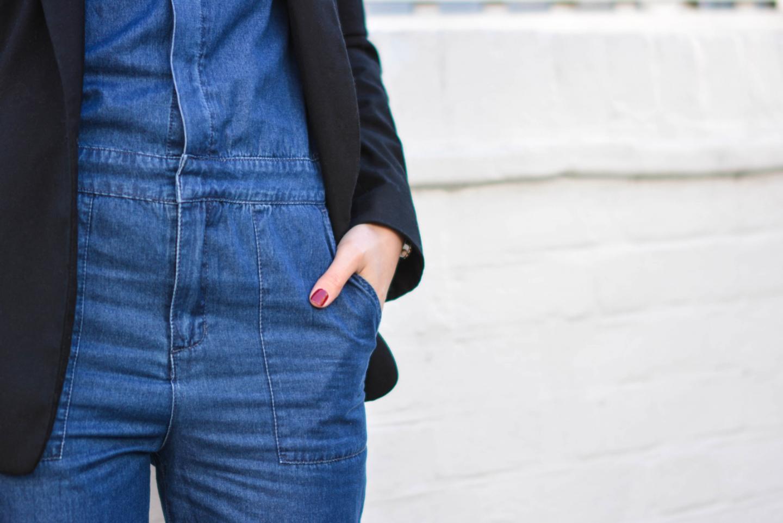 EJSTYLE - Emma Hill, Fashion Blogger, black blazer, Forever 21 Denim jumpsuit, denim overalls, denim boiler suit, red nails, china glaze Merry berry