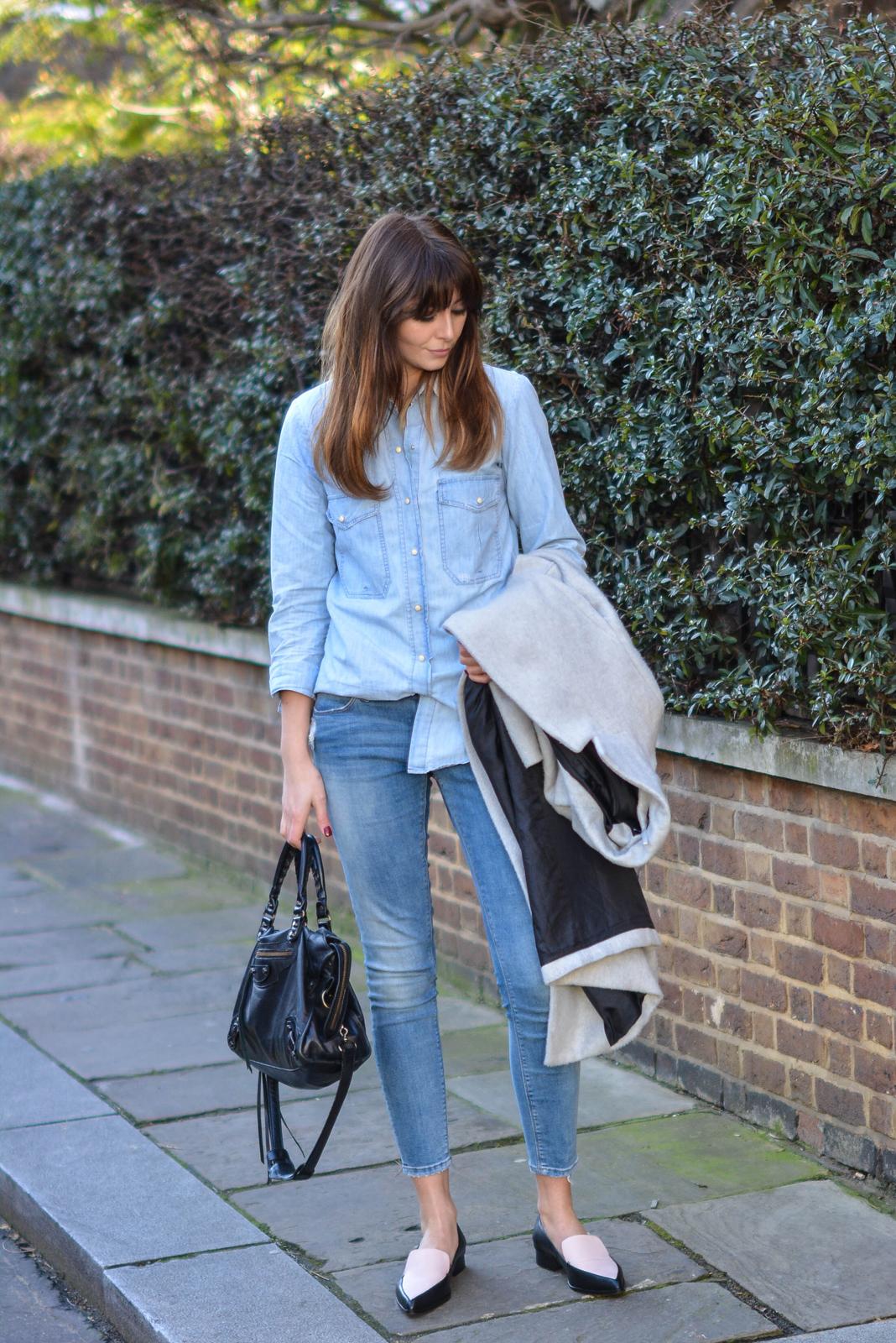 EJSTYLE - Emma Hill, Fashion blogger, Dorothy Perkins Grey coat, zara denim shirt, asos skinny jeans, double denim trend, SS15, John Lewis pointed loafers, black white pointed loafers, OOTD, street style