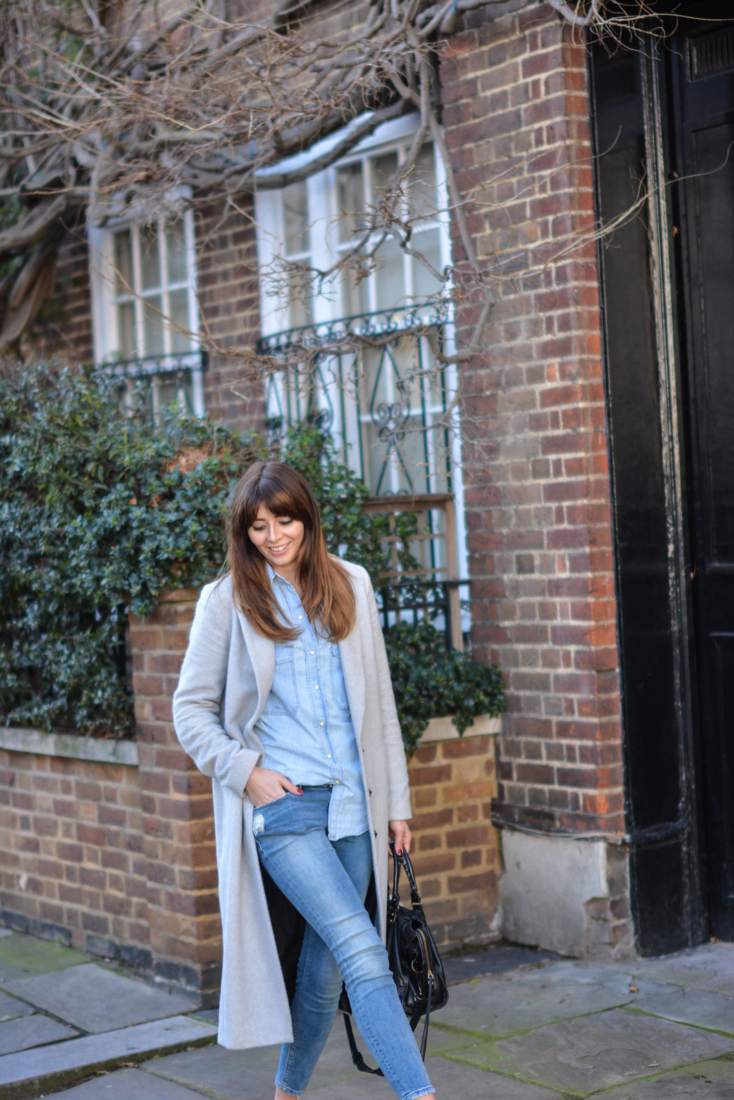 EJSTYLE - Emma Hill, Fashion blogger, Dorothy Perkins Grey coat, zara denim shirt, asos skinny jeans, double denim trend, SS15