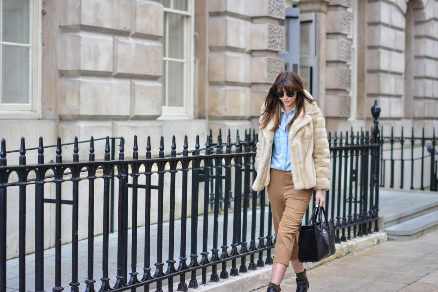 EJSTYLE - Emma Hill, London Fashion Week, LFW AW15, street style, 70's style, Denim shirt, suede culottes, isabel marant boots, jimmy choo bag, vintage faux fur coat