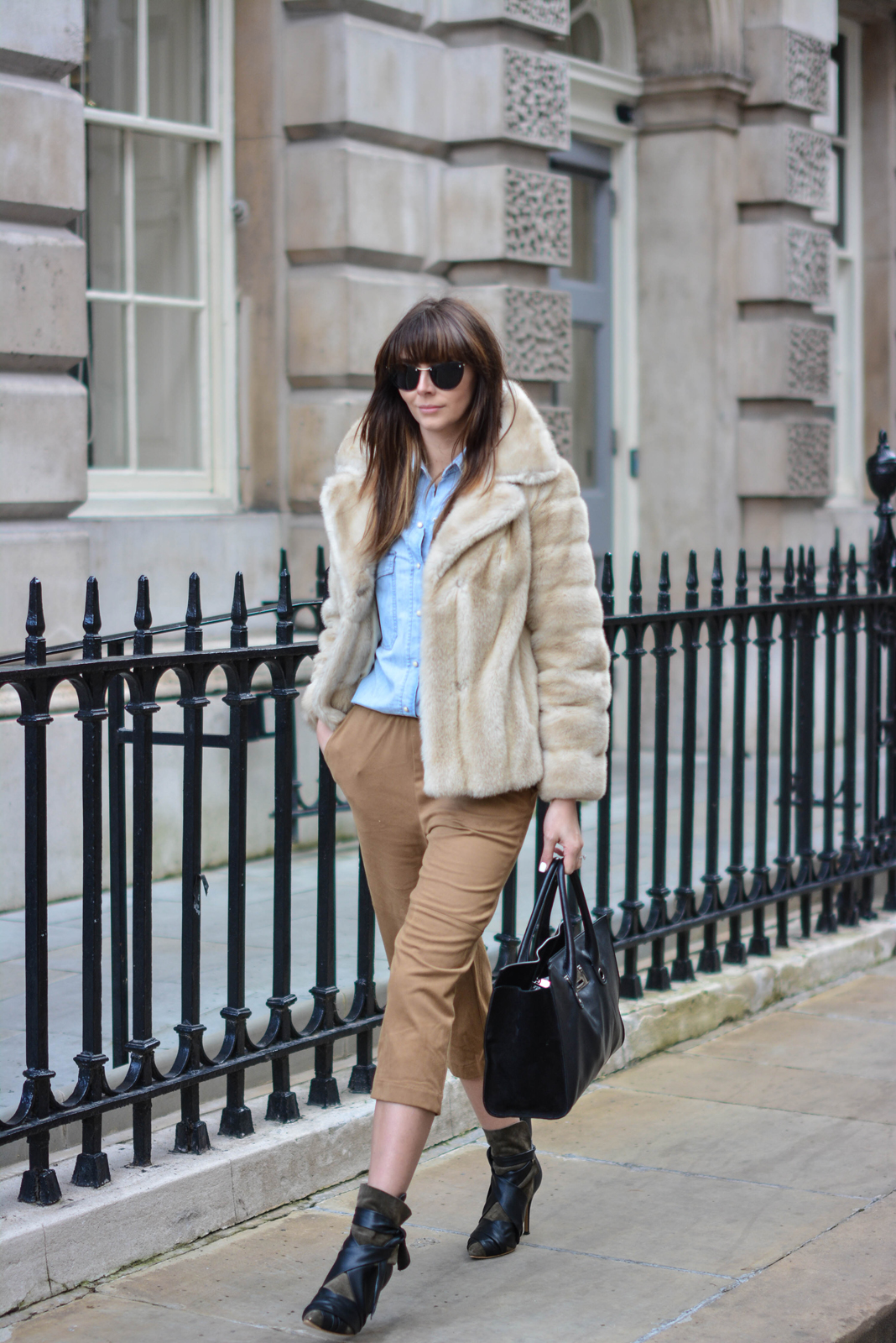 EJSTYLE - Emma Hill, London Fashion Week, LFW AW15, street style, 70's style, Denim shirt, suede culottes, isabel marant boots, jimmy choo bag, vintage fur coat, fashion blogger