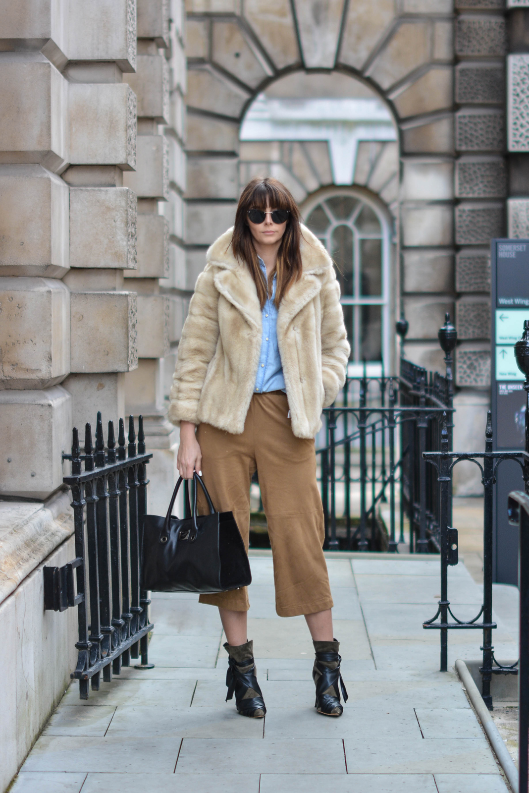 EJSTYLE - Emma Hill, London Fashion Week, LFW AW15, street style, 70's style, Denim shirt, suede culottes, isabel marant boots, jimmy choo bag, vintage fur coat