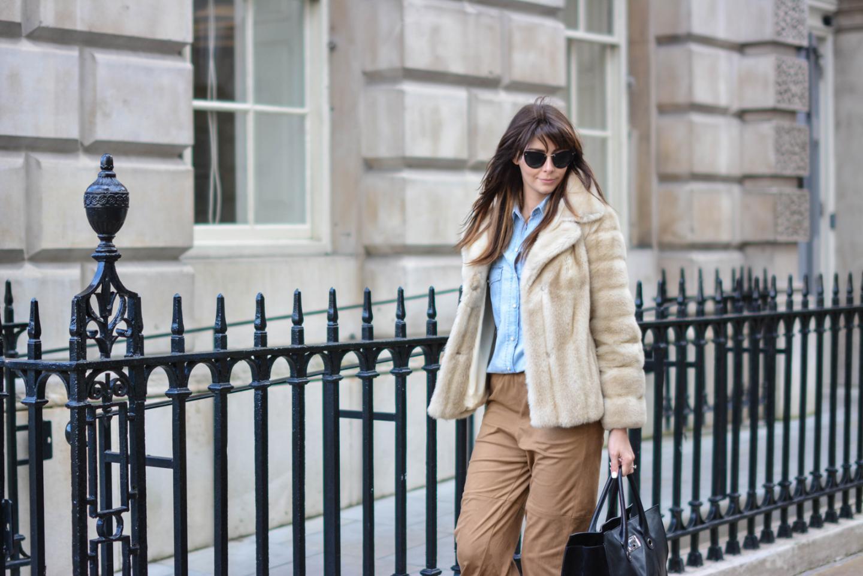 EJSTYLE - Emma Hill, London Fashion Week, LFW AW15, street style, 70's style, Denim shirt, suede culottes, jimmy choo bag, vintage faux fur coat, fashion blogger