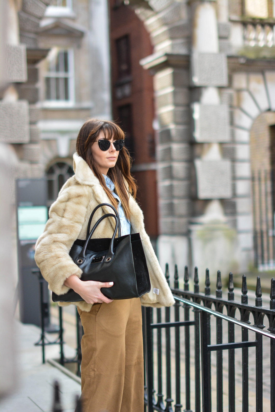 EJSTYLE - Emma Hill, London Fashion Week, LFW AW15, street style, 70's style, Denim shirt, suede culottes, jimmy choo bag, vintage faux fur coat