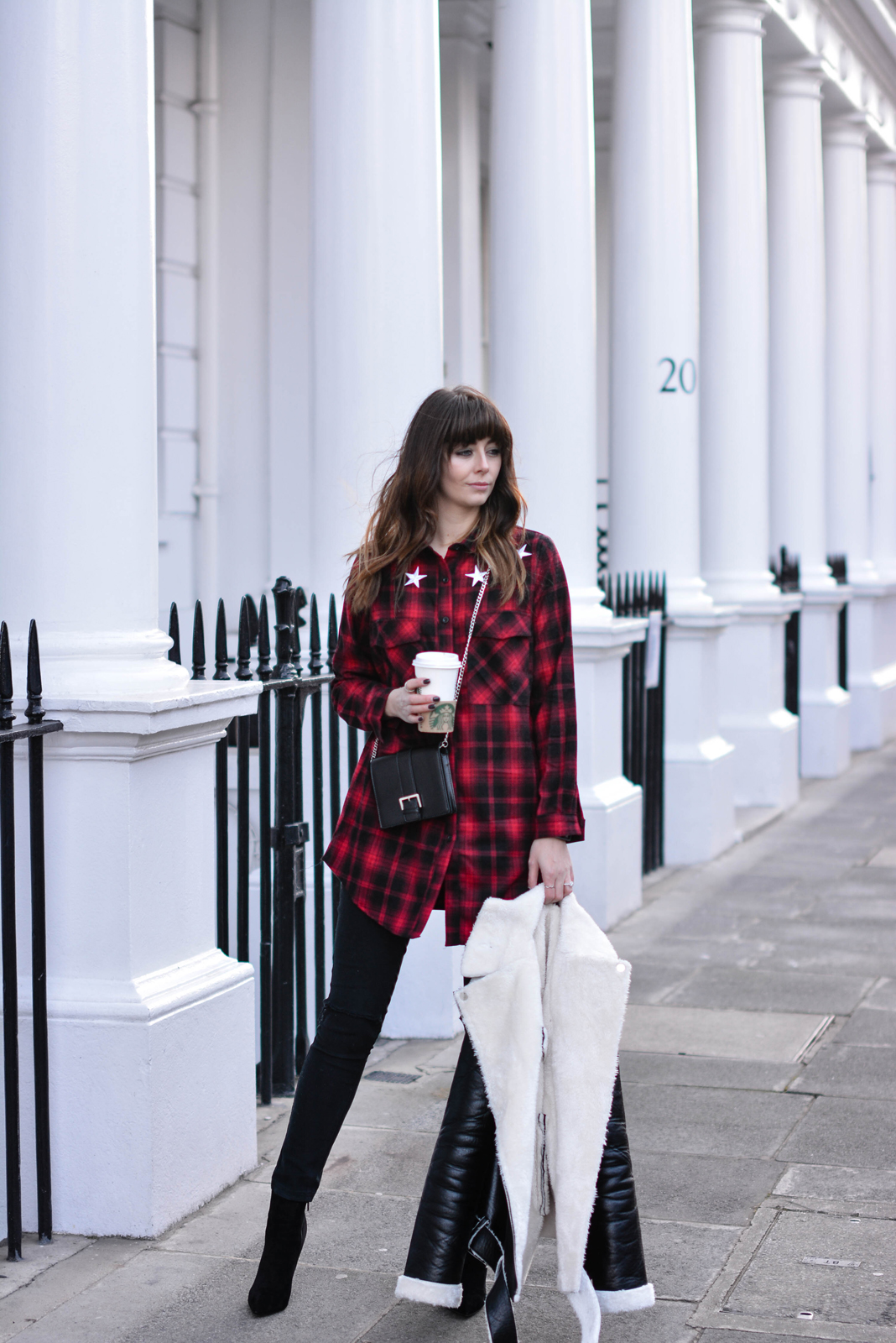 EJSTYLE - Emma Hill, Missguided red check shirt dress, Missguided borg aviator biker jacket, missguided black brossbody bag, missguided black ripped skinny jeans, Missguided stiletto heel ankle boots, OOTD, blogger