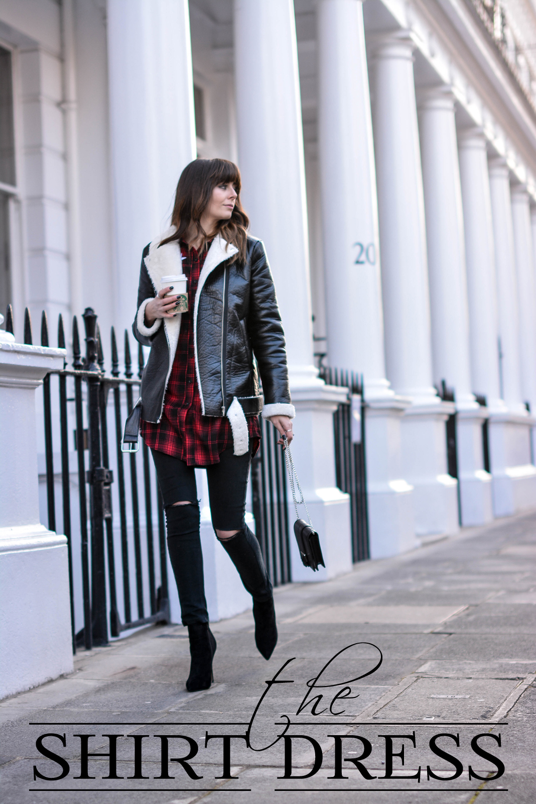 EJSTYLE - Emma Hill, Missguided red check shirt dress, Missguided borg aviator biker jacket, missguided black brossbody bag, missguided black ripped skinny jeans, Missguided stiletto heel ankle boots, street style