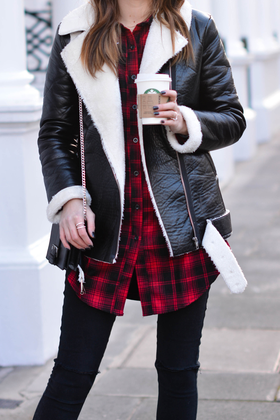 EJSTYLE - Emma Hill, Missguided red check shirt dress, Missguided borg aviator biker jacket, missguided black brossbody bag, missguided black ripped skinny jeans, OOTD, missguidedgurl