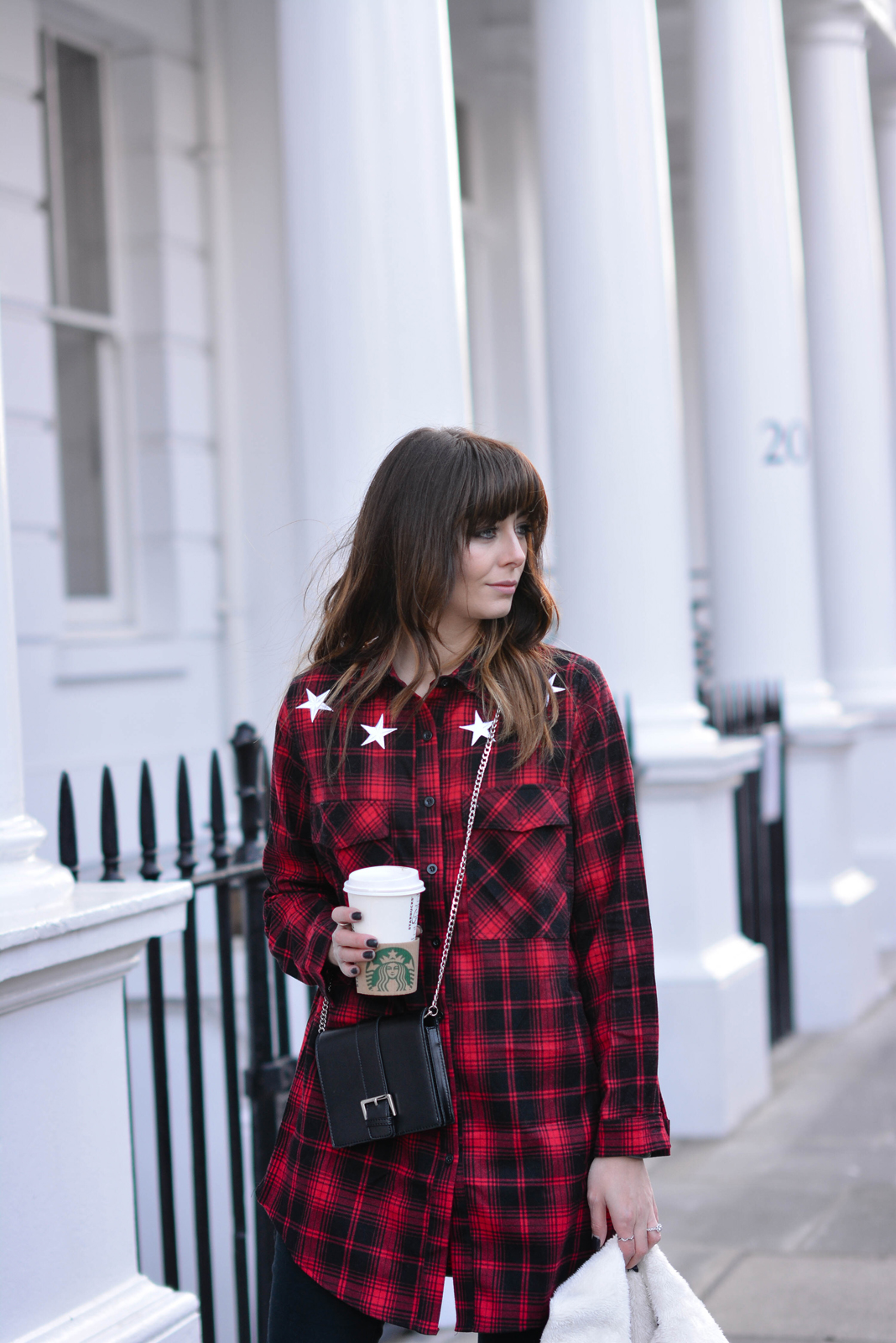 EJSTYLE - Emma Hill, fashion blogger, Missguided red check shirt dress,  missguided black brossbody bag, OOTD, missguided gurl