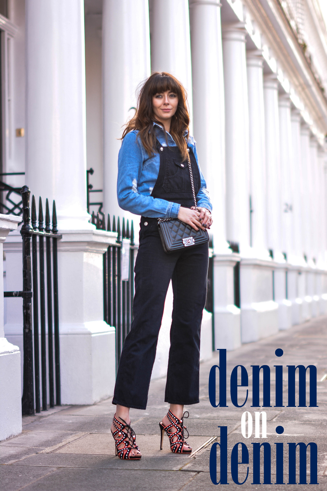 EJSTYLE - Emma Hill, fashion blogger, double denim, alexa chung x AG denim dungarees, Henry Holland denim shirt, house of holland denim shirt, Miss KG Ennis heels, OOTD