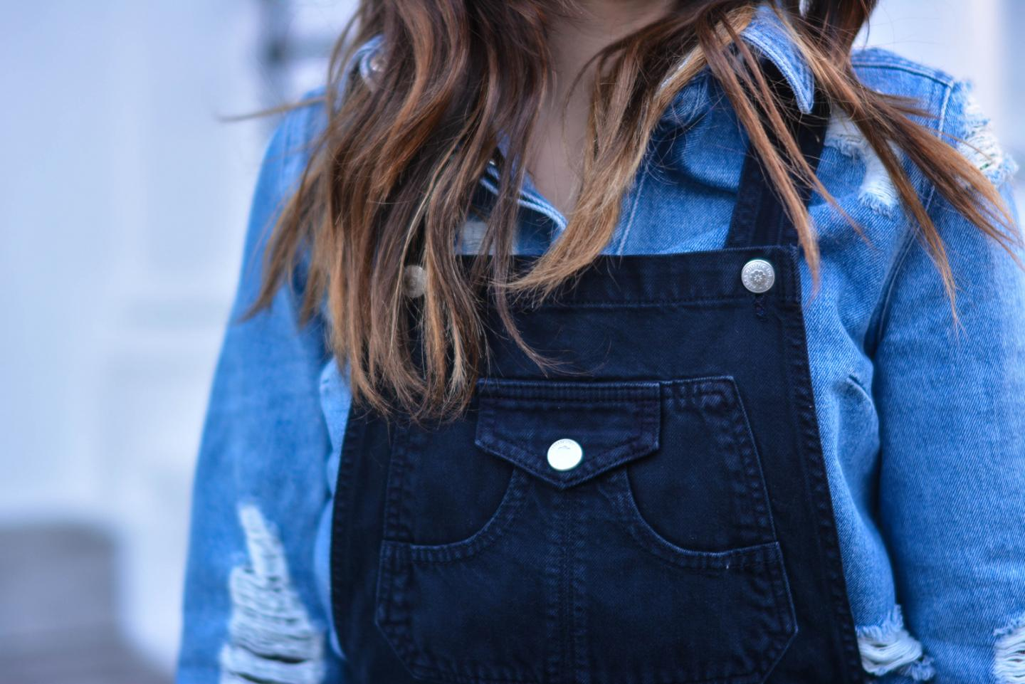 EJSTYLE - Emma Hill, fashion blogger, double denim, alexa chung x AG denim dungarees, Henry Holland denim shirt, house of holland denim shirt, denim trend, spring 2015, SS15, OOTD