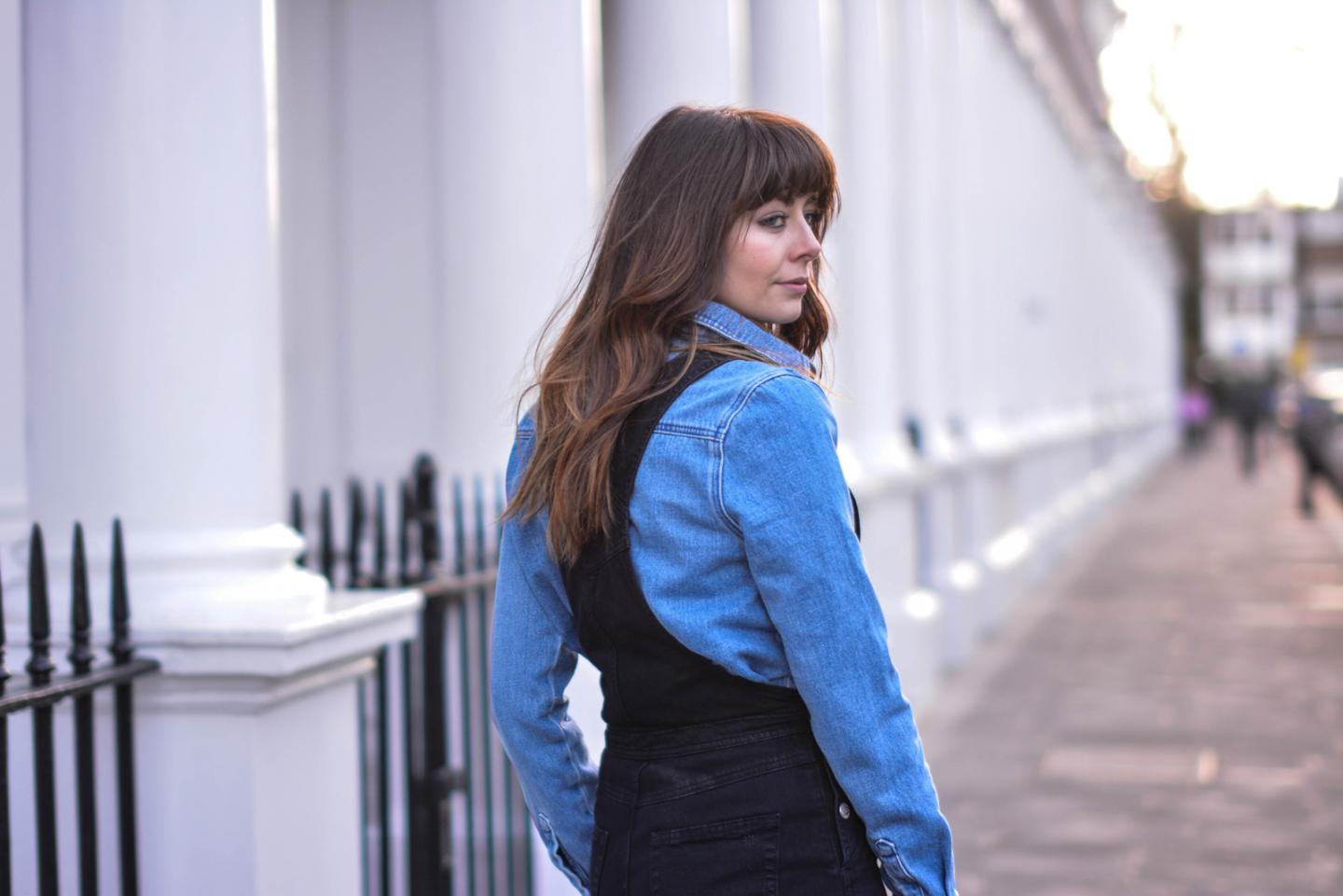 EJSTYLE - Emma Hill, fashion blogger, double denim, alexa chung x AG denim dungarees, Henry Holland denim shirt, house of holland denim shirt, denim trend, spring 2015, SS15