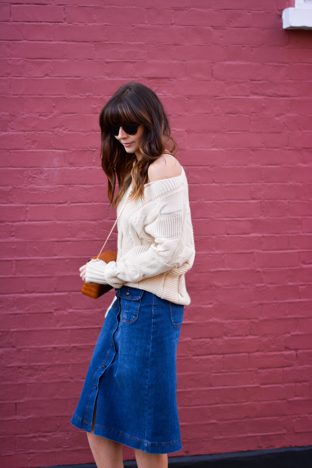 EJSTYLE - Emma Hill, 70's style, london street style, LFW AW15, M&S denim a line skirt, off shoulder cable knit jumper, Dune box bag, fashion blogger