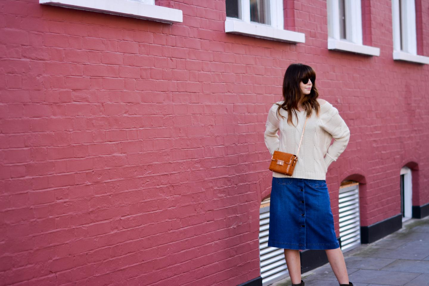 EJSTYLE - Emma Hill, 70's style, london street style, LFW AW15, M&S denim a line skirt, off shoulder cable knit jumper, Dune box bag