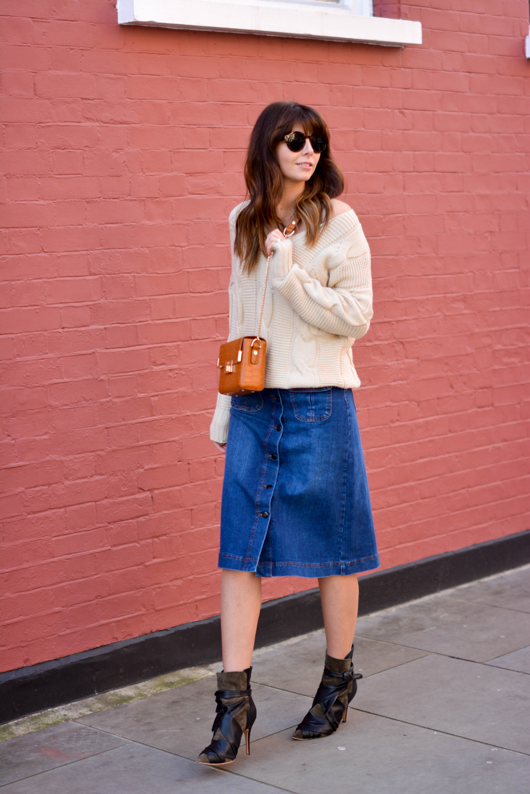 EJSTYLE - Emma Hill, 70's style, london street style, LFW AW15, M&S denim a line skirt, off shoulder cable knit jumper, isabel marant khaki ankle boots, Dune box bag tan, fashion blogger