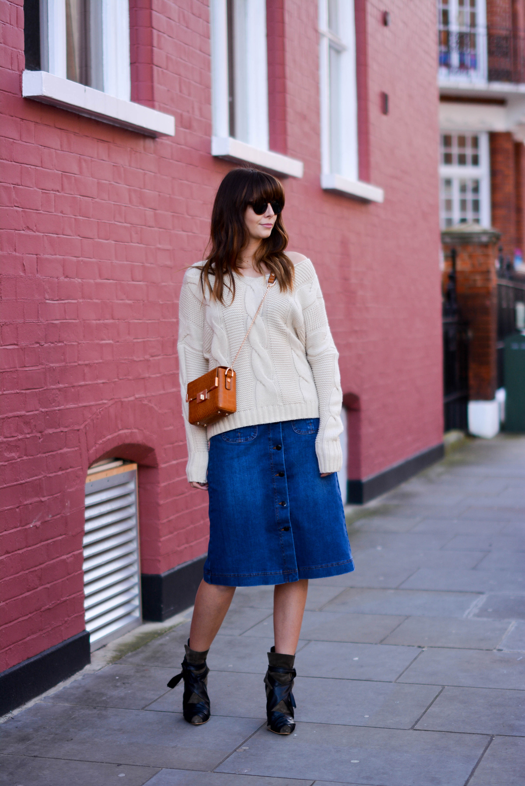 EJSTYLE - Emma Hill, 70's style, london street style, LFW AW15, M&S denim a line skirt, off shoulder cable knit jumper, isabel marant khaki ankle boots, Dune box bag tan