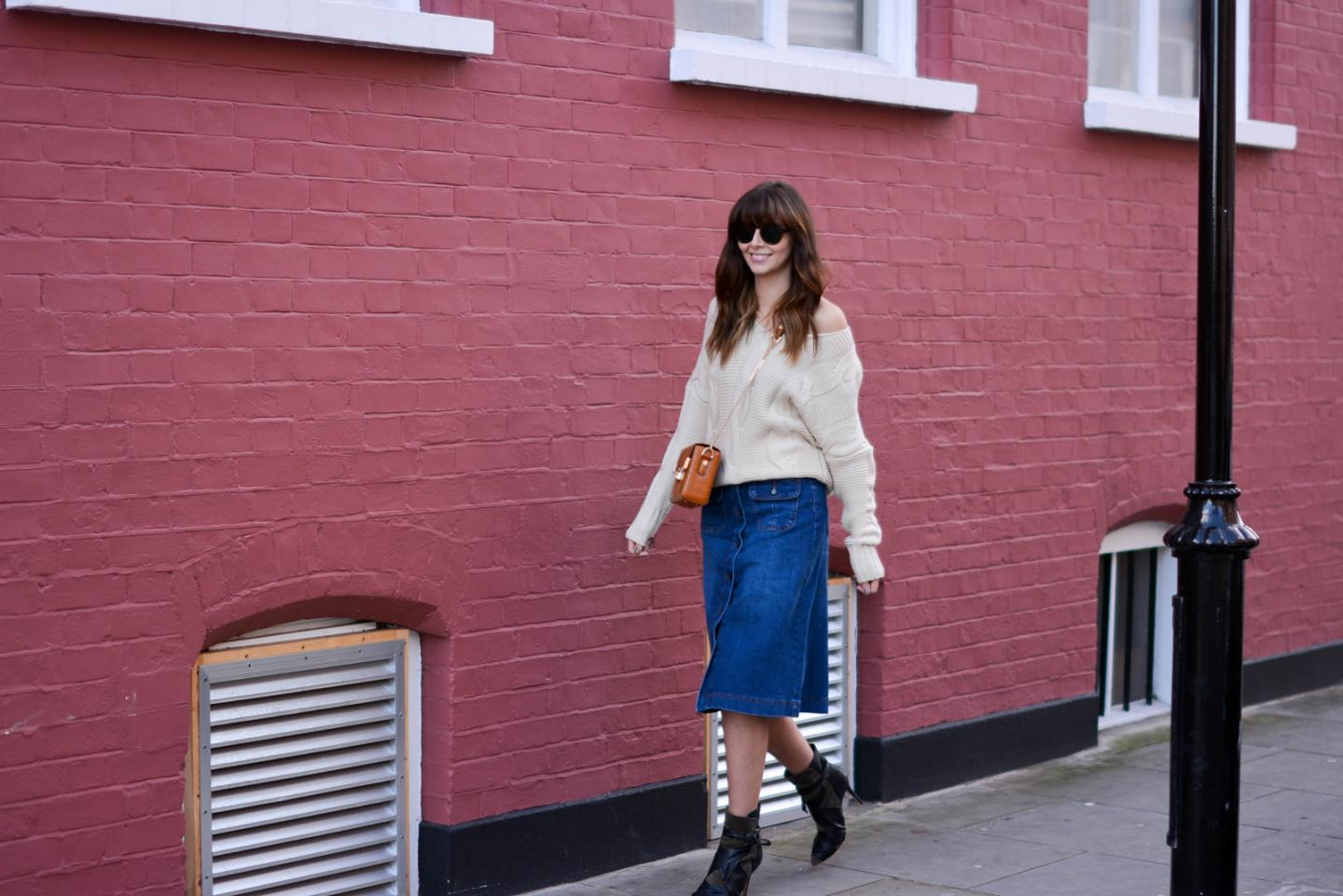EJSTYLE - Emma Hill, 70's style, london street style, LFW AW15, M&S denim a line skirt, off shoulder cable knit jumper, isabel marant khaki ankle boots, Dune box bag