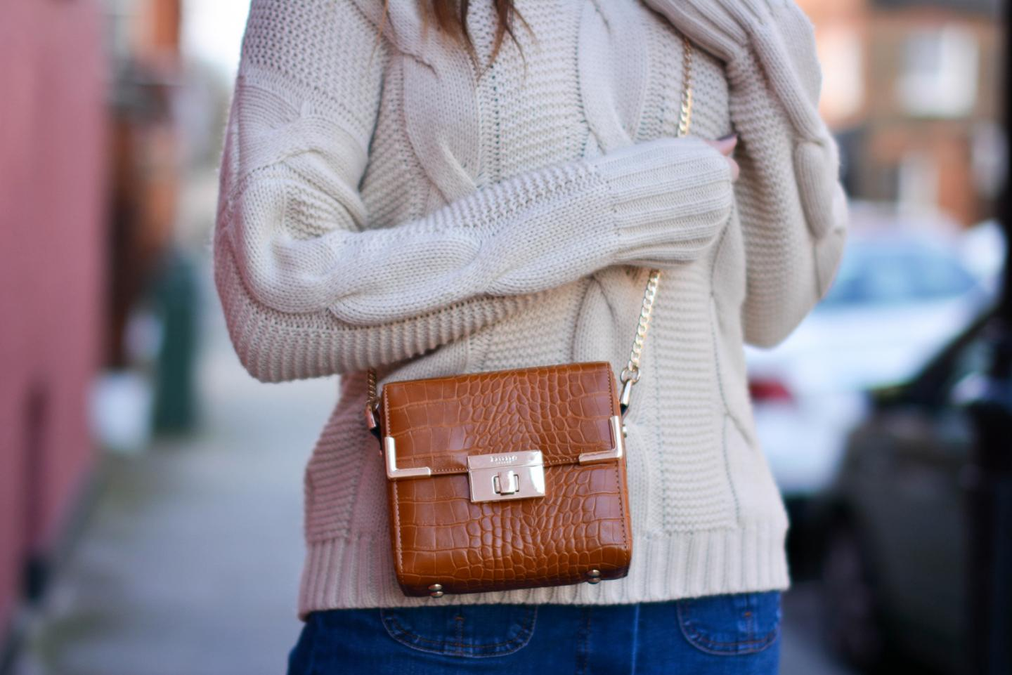 EJSTYLE - Emma Hill, 70's style, london street style, LFW AW15, off shoulder cable knit jumper, Dune box bag